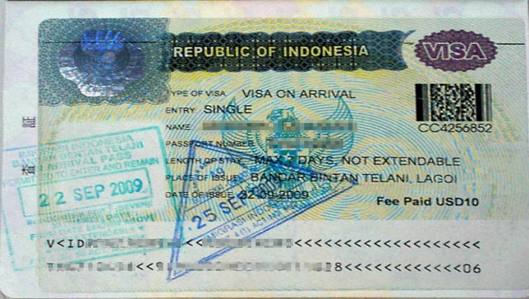 Visa on Arrival example
