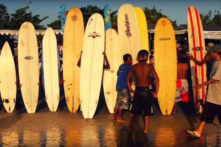 Surfboards for hire on Bali's beaches.