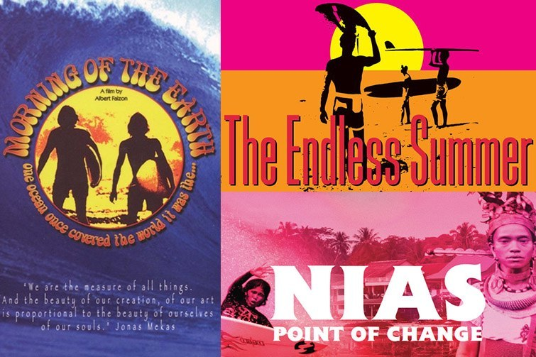 Classic surf movies. 'Morning of the Earth', 'The Endless Summer', 'NIAS Point of Change'.