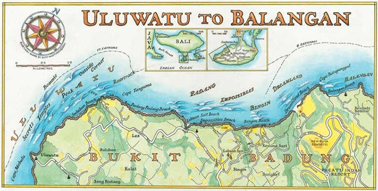 "Bali Surf Map ""The Bukit"" (Uluwatu to Balangan) by Guy Hastings"