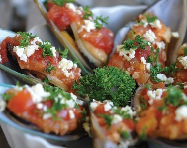 Baked Mussels with Feta Cheese