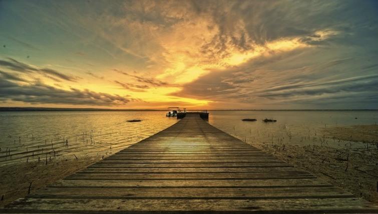 Pivate jetty at sunset, villa alamanda