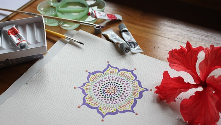 Mandala painting on yoga retreat