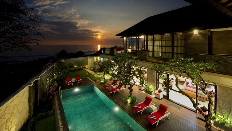 Ariel view of pool and villa at Villa Lega