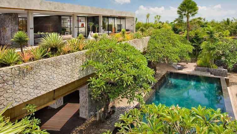Contemporary design and pool are of Villa Mana